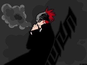 Rating: Safe Score: 6 Tags: abarai_renji all_male black bleach glasses kubo_tite male smoking User: Oyashiro-sama