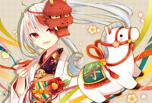 Rating: Safe Score: 123 Tags: all_male animal demon flowers goma_(11zihisin) horns horse japanese_clothes kimono long_hair male mask original red_eyes trap white_hair User: Maboroshi