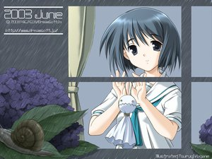 Rating: Safe Score: 6 Tags: animal black_eyes black_hair dreamsoft flowers leaves school_uniform short_hair tsurugi_hagane watermark User: Oyashiro-sama