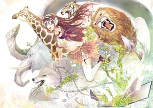 Rating: Safe Score: 39 Tags: alpha_(alpha91) animal aqua_eyes book braids brown_hair chain dragon elephant fish flowers lion long_hair scan skirt thighhighs tiger wings wolf User: RyuZU