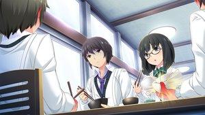 Rating: Safe Score: 33 Tags: bow food game_cg glasses hinasaki jirai_soft kawashima_hideya male short_hair susonobe_nami tie tsuisou_no_augment User: Maboroshi