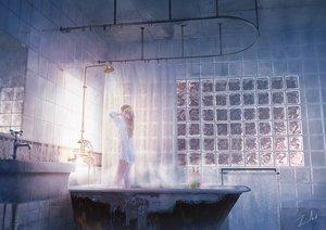 Rating: Safe Score: 85 Tags: bath bathtub blonde_hair long_hair naked_shirt no_bra original see_through shirt shower signed tamaki_(tamaki_illust) water User: otaku_emmy