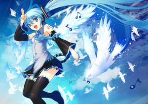 Rating: Safe Score: 75 Tags: animal bird blue_eyes blue_hair hatsune_miku hirokiku vocaloid zettai_ryouiki User: FormX