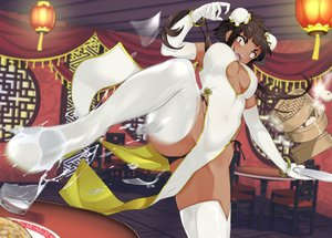 Rating: Safe Score: 69 Tags: boots breasts brown_eyes brown_hair chinese_clothes chinese_dress cleavage dark_skin dress drink elbow_gloves food gloves jovejun kick long_hair original panties spread_legs thighhighs underwear wristwear User: otaku_emmy