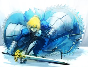 Rating: Safe Score: 95 Tags: armor artoria_pendragon_(all) blonde_hair blue dress fate_(series) fate/stay_night fate/zero green_eyes nkmr8 saber short_hair sword weapon User: Dust