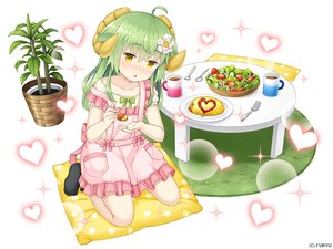 Rating: Safe Score: 21 Tags: animal_ears apron asatsuki_(monmusu_harem) blush drink flat_chest food green_hair heart horns loli long_hair monmusu_harem namaru_(summer_dandy) socks yellow_eyes User: otaku_emmy