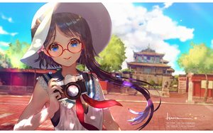 Rating: Safe Score: 71 Tags: blue_eyes building camera clouds glasses original say_hana sky watermark User: BattlequeenYume