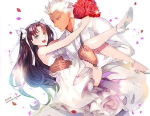 Rating: Safe Score: 88 Tags: archer astarone brown_hair fate/stay_night flowers green_eyes long_hair petals rose tohsaka_rin twintails wedding_attire white_hair User: Flandre93