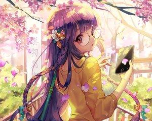 Rating: Safe Score: 97 Tags: braids cherry_blossoms cropped dress flowers furyou_michi_~gang_road glasses long_hair original petals phone purple_hair red_eyes soo_kyung_oh User: mattiasc02