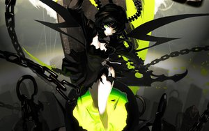 Rating: Safe Score: 299 Tags: black_rock_shooter chain dress green_eyes horns scythe skull takanashi_yomi tsunekun weapon wings User: Lusbelle-Dei