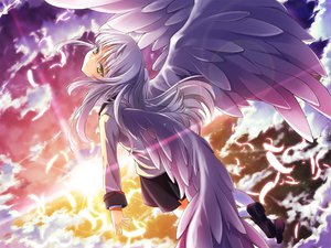 Rating: Safe Score: 46 Tags: angel_beats! clouds feathers long_hair scenic seifuku skirt sky tachibana_kanade white_hair wings yellow_eyes User: HawthorneKitty