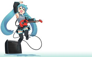 Rating: Safe Score: 44 Tags: aqua_hair gradient guitar hatsune_miku instrument long_hair nagian parody skirt thighhighs tie twintails vocaloid white User: 秀悟
