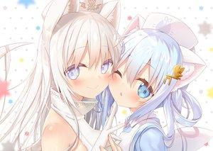 Rating: Safe Score: 71 Tags: 2girls animal_ears blush close long_hair original wink yano_mitsuki User: BattlequeenYume