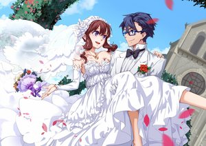 Rating: Safe Score: 42 Tags: blue_eyes blue_hair bow brown_hair building elbow_gloves flowers glasses gloves long_hair male necklace original petals purple_eyes short_hair sky suit tianna wedding wedding_attire User: Flandre93