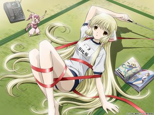 Rating: Safe Score: 87 Tags: blonde_hair bloomers book brown_eyes chii chobits gym_uniform jpeg_artifacts long_hair phone ribbons sumomo techgirl underwear User: Oyashiro-sama