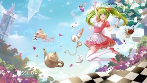 Rating: Safe Score: 57 Tags: alice_in_wonderland animal bow building candy clouds dress drink flowers gloves green_eyes green_hair long_hair manatsu_riko original petals rabbit tree twintails User: RyuZU