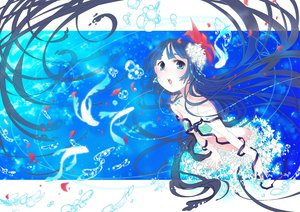 Rating: Safe Score: 65 Tags: animal bikini blue_eyes blue_hair bubbles fish hiiro_(kikokico) long_hair original swimsuit underwater water User: HawthorneKitty