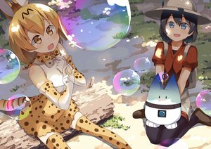 Rating: Safe Score: 18 Tags: 2girls animal_ears anthropomorphism black_hair blonde_hair blue_eyes blush bow breasts bubbles catgirl elbow_gloves gloves hat kaban kemono_friends lucky_beast_(kemono_friends) pantyhose serval short_hair shorts skirt tail thighhighs yellow_eyes yuuki_(pixiv14303993) User: RyuZU