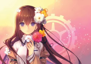 Rating: Safe Score: 145 Tags: blush brown_hair flowers jpeg_artifacts long_hair makise_kurisu misti purple_eyes steins;gate tie User: Wiresetc
