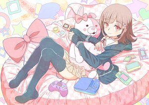 Rating: Safe Score: 58 Tags: bow dangan-ronpa furai game_console nanami_chiaki phone pink_eyes ribbons short_hair skirt teddy_bear thighhighs User: RyuZU