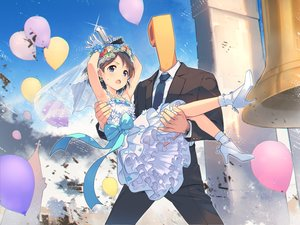 Rating: Safe Score: 15 Tags: bell blue_eyes blush boots bow brown_eyes clouds dress flowers gloves gun headdress idolmaster idolmaster_cinderella_girls loli male producer_(idolmaster) sasaki_chie short_hair sky socks teiryoku_lolita weapon wedding wedding_attire User: RyuZU