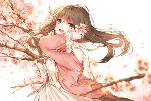 Rating: Safe Score: 35 Tags: blush brown_hair cherry_blossoms dress flowers green_eyes kh_(kh_1128) long_hair original petals summer_dress User: RyuZU