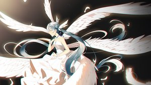 Rating: Safe Score: 33 Tags: angel aqua_eyes aqua_hair dress hatsune_miku long_hair sdustz twintails vocaloid wings User: sadodere-chan