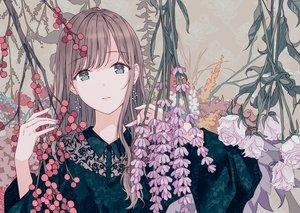 Rating: Safe Score: 73 Tags: brown_hair flowers gray_eyes hiten_goane_ryu long_hair original User: RyuZU