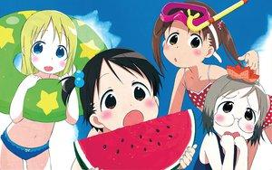 Rating: Safe Score: 7 Tags: ana_coppola food fruit ichigo_mashimaro itou_chika matsuoka_miu sakuragi_matsuri swim_ring watermelon User: Oyashiro-sama