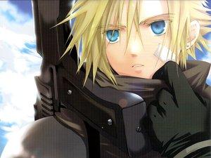 Rating: Safe Score: 54 Tags: bandage blonde_hair blue_eyes cloud_strife clouds final_fantasy final_fantasy_vii gloves gun short_hair weapon User: Oyashiro-sama