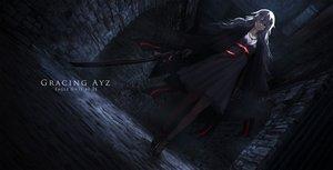 Rating: Safe Score: 104 Tags: dress gray_hair long_hair necklace original pantyhose red_eyes shiroi_suzume sword weapon User: RyuZU