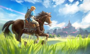 Rating: Safe Score: 38 Tags: achyue all_male animal blonde_hair boots building clouds gloves grass horse link_(zelda) long_hair male pointed_ears ponytail scenic sky sword the_legend_of_zelda weapon User: otaku_emmy