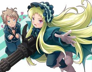 Rating: Safe Score: 16 Tags: alexander_(twin_angel) blue_eyes brown_hair gloves green_hair gun kaitou_tenshi_twin_angel kouzu_shou loli lolita_fashion long_hair male pink_eyes salome_(twin_angel) weapon User: Maboroshi