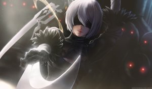 Rating: Safe Score: 265 Tags: blindfold breasts gray_hair limgae nier nier:_automata realistic short_hair watermark weapon yorha_unit_no._2_type_b User: BattlequeenYume