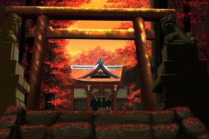 Rating: Safe Score: 69 Tags: autumn building hakurei_reimu japanese_clothes kitsupon landscape leaves miko scenic shrine stairs torii touhou tree User: gnarf1975