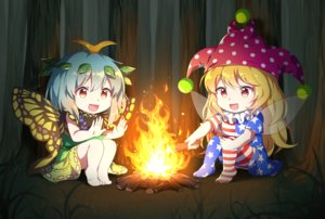 Rating: Safe Score: 18 Tags: 2girls aliasing barefoot blonde_hair blue_hair caramell0501 clownpiece dress etarnity_larva fairy fire forest hat long_hair orange_eyes red_eyes short_hair skirt stockings touhou tree wings User: otaku_emmy