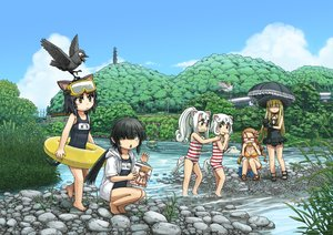 Rating: Safe Score: 45 Tags: animal animal_ears bikini bird black_hair blonde_hair catgirl glasses ike_(altitude_attitude) neko_musume_michikusa_nikki school_swimsuit swimsuit tail umbrella white_hair User: SciFi