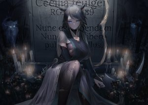 Rating: Safe Score: 191 Tags: animal animal_ears bicolored_eyes black_hair breasts dark mer necklace original rain short_hair signed torn_clothes water wolf wolfgirl User: Dreista