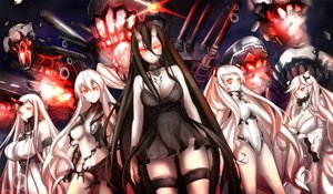 Rating: Questionable Score: 158 Tags: aircraft_carrier_hime airfield_hime battleship-symbiotic_hime black_hair bodysuit breasts cleavage dress group horns kantai_collection long_hair midway_hime nopan red_eyes seaport_hime torn_clothes untsue white_hair wristwear User: kokiriloz