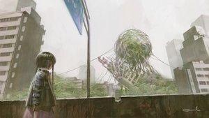 Rating: Safe Score: 36 Tags: black_hair building city dress loli original rain reoen ruins signed water User: luckyluna