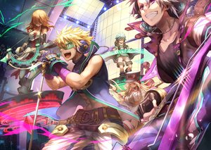 Rating: Safe Score: 6 Tags: aqua_hair blonde_hair dearrose drums elbow_gloves glasses gloves gray_hair group guitar hat headphones instrument long_hair magic male merc_storia microphone necklace orange_hair purple_eyes red_eyes short_hair shorts tagme_(character) thighhighs yellow_eyes User: RyuZU