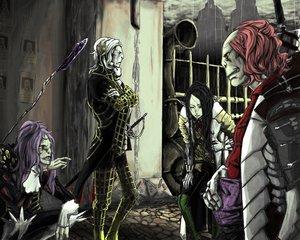 Rating: Safe Score: 18 Tags: 1ji45fun black_hair gloves long_hair male pointed_ears purple_hair rain red_hair suit sword water weapon white_hair User: noitis