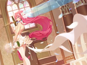 Rating: Safe Score: 80 Tags: dress flowers gloves long_hair mosquito_coils original pink_eyes pink_hair sword thighhighs weapon wedding_attire User: BattlequeenYume