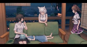 Rating: Safe Score: 54 Tags: animal_ears barefoot cirno couch dress drink group himekaidou_hatate inubashiri_momiji night pointed_ears roke_(taikodon) shameimaru_aya sleeping touhou wolfgirl User: gnarf1975