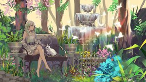 Rating: Safe Score: 61 Tags: animal barefoot bird braids dress flowers forest grass green_eyes green_hair leaves long_hair original rabbit rainbow rsef scenic tree water User: otaku_emmy