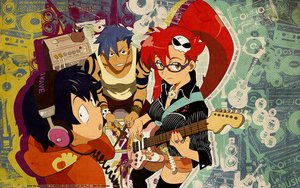 Rating: Safe Score: 17 Tags: black_eyes black_hair blue_hair breasts brown_eyes glasses guitar headphones instrument kamina long_hair male ponytail red_hair short_hair shorts simon tagme_(artist) tattoo tengen_toppa_gurren_lagann thighhighs watermark yellow_eyes yoko_littner User: RyuZU