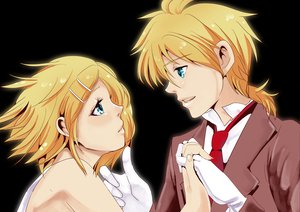 Rating: Safe Score: 12 Tags: blonde_hair blue_eyes gloves kagamine_len kagamine_rin short_hair tie transparent twins vocaloid User: HawthorneKitty