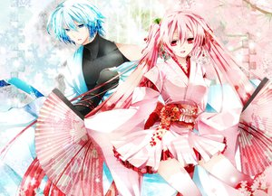 Rating: Safe Score: 63 Tags: akatsuki_yakyou blue_eyes blue_hair fan hatsune_miku hatsune_mikuo japanese_clothes pink_eyes pink_hair sakura_miku twintails vocaloid User: STORM