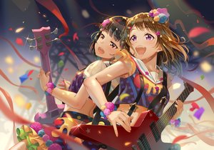 Rating: Safe Score: 28 Tags: 2girls bang_dream! black_hair brown_eyes brown_hair guitar instrument purple_eyes ribbons short_hair terumii toyama_kasumi ushigome_rimi wet wristwear User: RyuZU