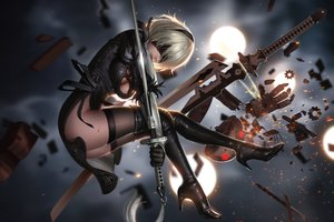Rating: Safe Score: 157 Tags: blindfold blood dress gloves gray_hair liang_xing nier nier:_automata nopan realistic robot short_hair sword thighhighs weapon yorha_unit_no._2_type_b User: zoobezee